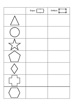 Edges and Vertices Worksheet Younger Years