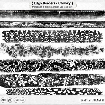 Grungy, Distressed Border ClipArt, Digital Stamps for adding an inky, aged look