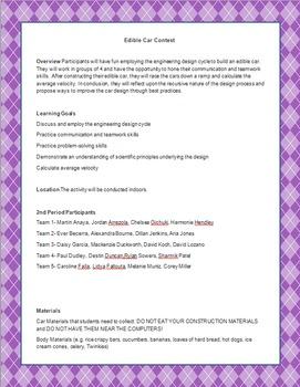 Edible Car Contest printable argyle background