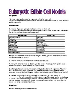 Edible Cell Model handout and rubric