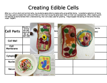 Edible Cell Project with Chart, Rubric and Suggestions
