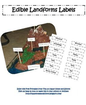 Edible Landforms Labels