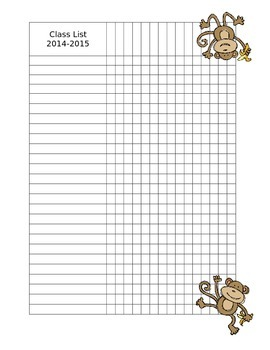 Edible Monkey Class List