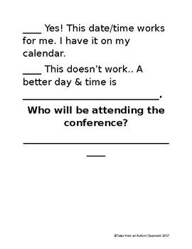 Edible Parent Teacher Conferences Forms