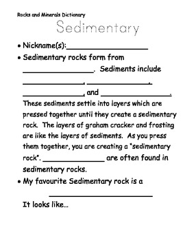 Edible Rocks Worksheet