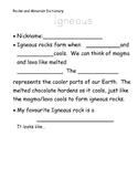 Edible Rocks Worksheet