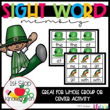 Edible St Patrick's Day Theme Sight Word Memory Game Bundle