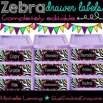 Editable Bright Zebra drawer labels