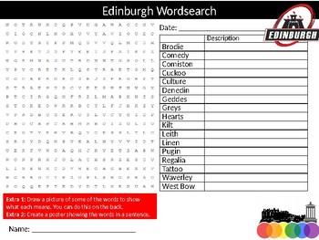 Edinburgh City Wordsearch Sheet Starter Activity Keywords Scotland History