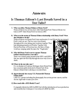 Thomas Edison's Last Breath Captured in a Test Tube. Science Literacy/ Questions