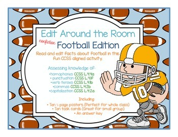 Edit Around the Room: Facts About Football! Nonfiction! Editing CCSS Aligned!