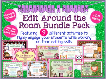 Edit Around the Room: Bundle of 9! Fiction/Nonfiction! Editing CCSS Aligned!