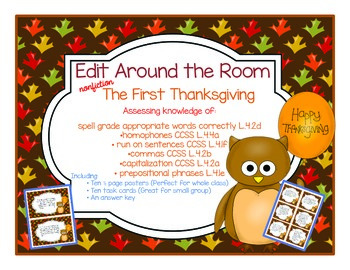 Edit Around the Room: The First Thanksgiving! Nonfiction! Editing CCSS Aligned!