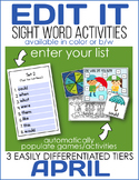 Edit It-April Sight Word Activities-Differentiated (Color and B/W)