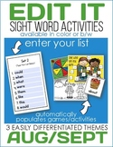 Edit It-August/September Sight Word Activities -Differentiated (In Color or B/W)