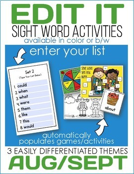 Edit It-August/September Sight Word Activities -Differenti