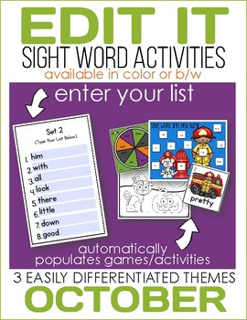 Edit It-October Sight Word Activities-Differentiated (Colo