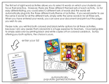 Edit It-October Sight Word Activities-Differentiated (Color and B/W)