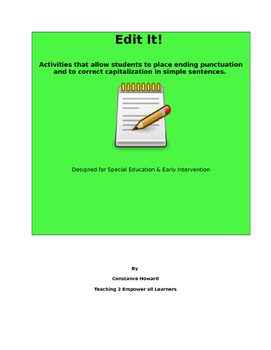 Edit It! Punctuation and Capitalization Practice Special Education