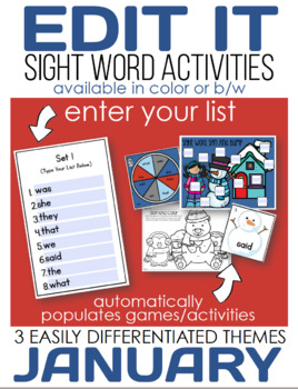 Edit It for January Sight Word Activities-Differentiated (Color and B/W)