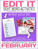 Edit It for February Sight Word Activities-Differentiated