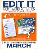 Edit It for March Sight Word Activities - Differentiated (