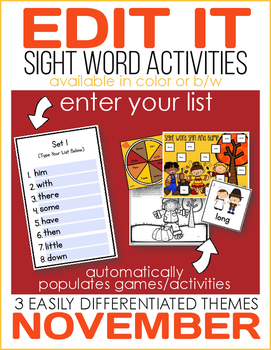 Edit It for November Sight Word Activities-Differentiated (Color and B/W)