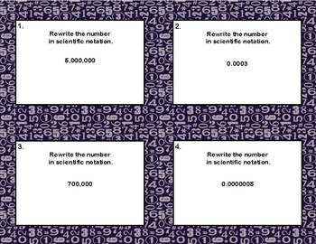 Edit Product: Rewriting Numbers From Decimals to Scientific Notation Task Cards