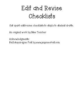 Edit/Revise Checklist