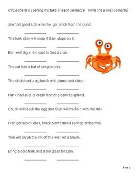 Edit Sentences for Spelling Errors / Orton Gillingham - Level 2/3