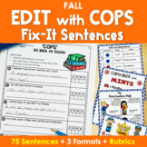 Edit Writing with 'COPS' Fix It Sentences in FALL