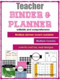 EditabLE 2018-2019 Teacher Binder/Planner  FREE UPDATES 