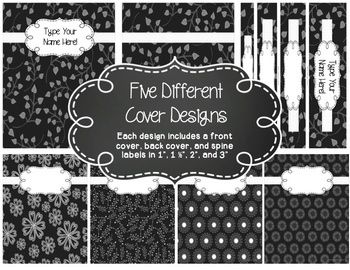 Editable 1-2 Subject Lesson Plan Book {2017-2018} in Black & White Floral Whimsy