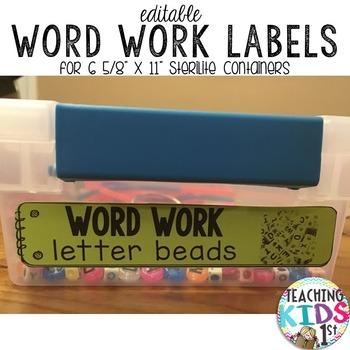 "Editable 1"" x 5"" Sterilite Word Work Labels"
