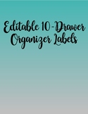 Editable 10-Drawer Organizer Labels in Teal