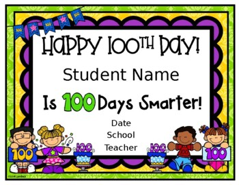 Editable 100 Day Certificates