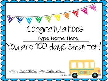 Editable 100th Day Certificates