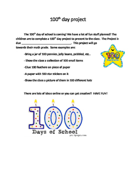 Editable 100th Day Project letter