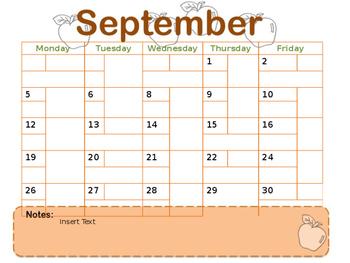Editable 11 month 5-day Calendar