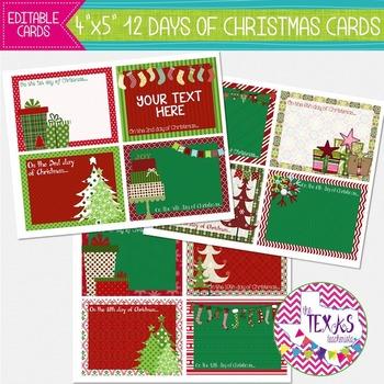 12 Days of Christmas Cards {EDITABLE}