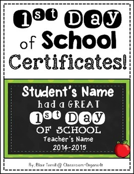 {Editable} 1st Day of School {Certificates}