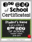 {Editable} 1st Day of School {Certificates}