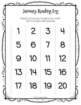 Editable 1st Grade January Homework Menu and Reading Log