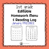 Editable 1st Grade January Homework Menu and Reading Log