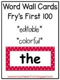 First Grade Word Wall: Editable