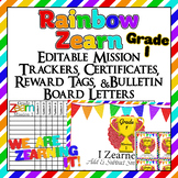 Editable!! 1st Grade Zearn Trackers, Certificates, Bulletin Board, reward tags