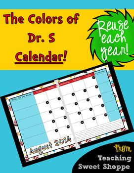 The Colors of Dr. S!  Editable 2-Page 2015/2016 Calendar for your Teacher Binder