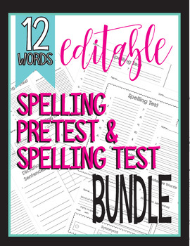 Editable - 12 Word List Spelling Test, Quiz, Pretest, Vocabulary 1st 2nd 3rd