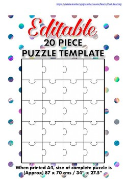 Editable 20 Piece Blank Puzzle Template