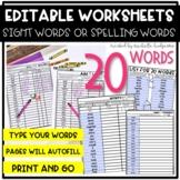 Editable 20 Sight Word, Spelling Words, Word Work, Workshe